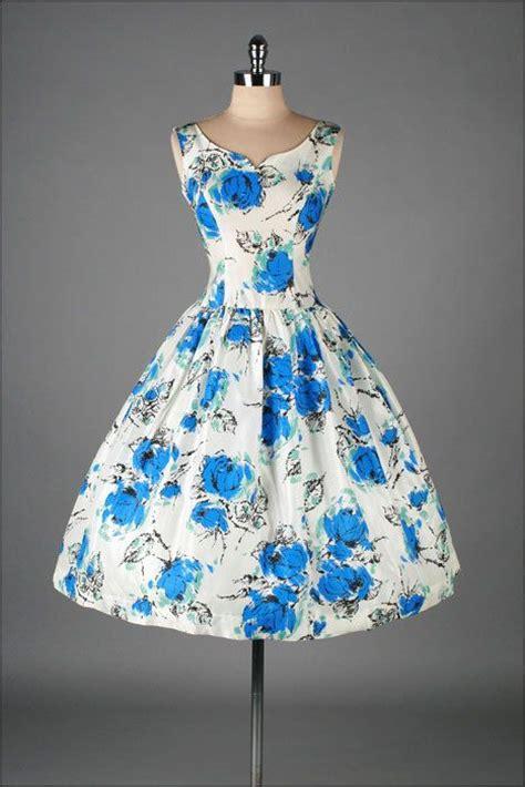 white dress with blue flowers vintage 1950s dress white taffeta cobalt blue floral