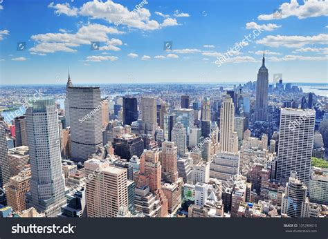 New York by New York City Manhattan Midtown Aerial Stock Photo