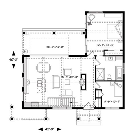 Ilot Pour Cuisine 5299 by Bungalow House Plan With 2 Bedrooms And 1 5 Baths Plan 1445