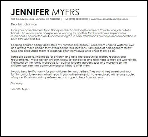 popular nanny cover letter samples 23 with additional cover letter