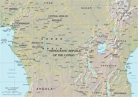 physical map of central africa africa map physical