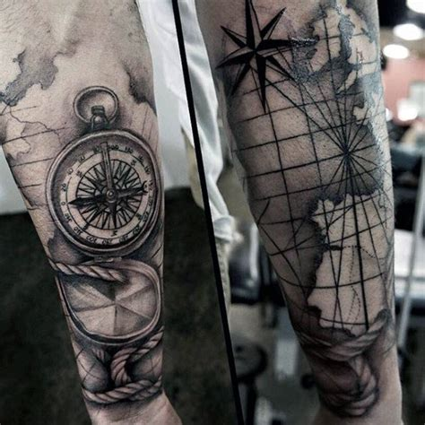 mens compass tattoo 70 compass designs for an exploration of ideas