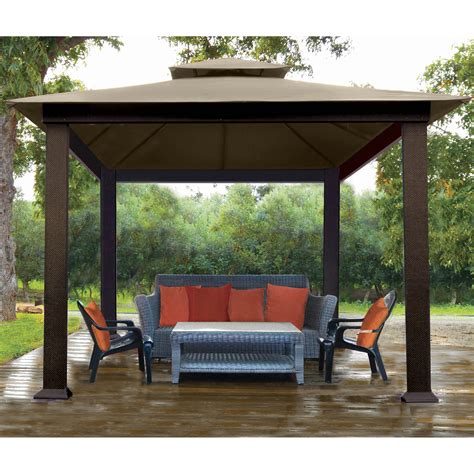 Stc Verona 10 Ft W X 10 Ft D Metal Permanent Gazebo Metal Patio Gazebo