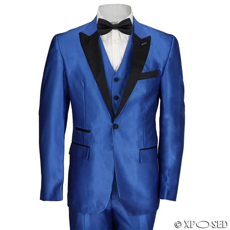 Electric Blue New new mens 3 suit electric blue tailored fit black