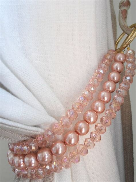 pink curtain tie backs set of 2 pink crystals glass pearls decorative curtain