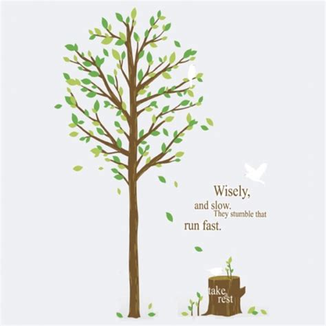 Wall Stickers Birds inspirational quote tree stump forest bird wall stickers