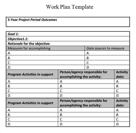 best work plan template best photos of sle work plan format sle work plan