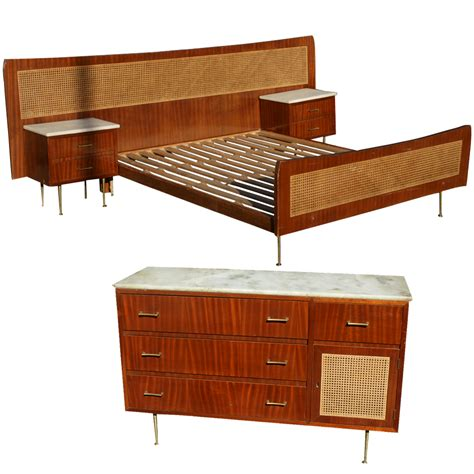 cane bed frame midcentury retro style modern architectural vintage furniture from metroretro and mcm