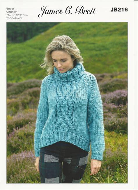 knitting pattern jumper chunky james c brett ladies sweater super chunky knitting pattern