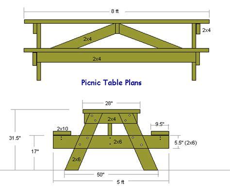 plans  building   foot long picnic table diy