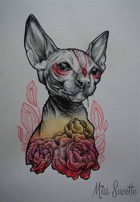 sphynx tattoo sphynx cat illustration by miss sucette drawing