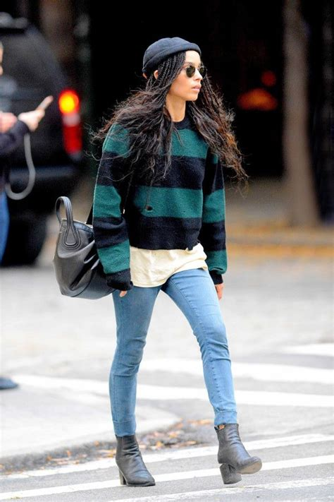 zoe kravitz casual outfits celebrity approved sweaters for off duty style bohemian