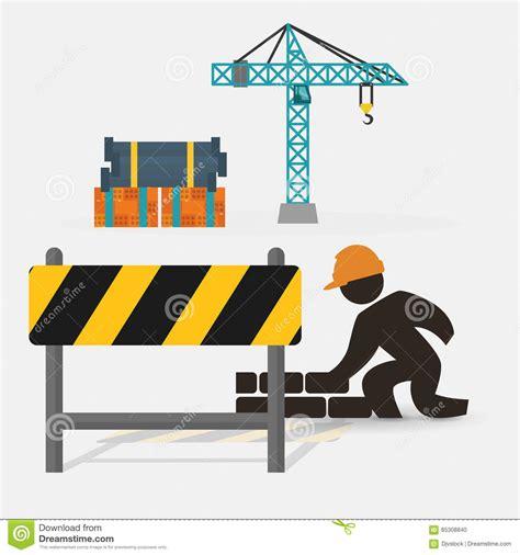 worker construction brick wall barrier crane stock
