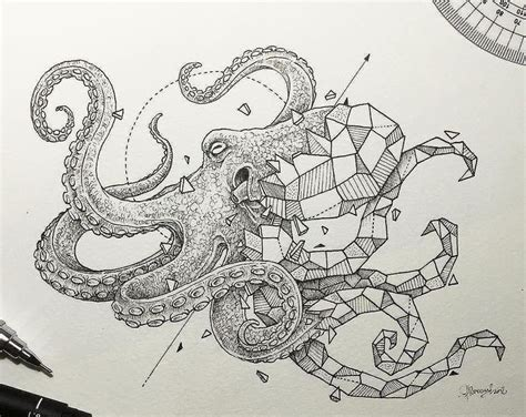 nice tattoo trends geometric octopus tattoo design