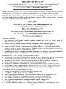 early childhood education resume sles resume sle for early childhood specialist