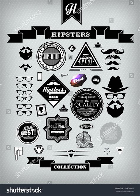 hipster style elements icons and labels stock vector hipster style collection of elements tags banners