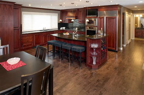 stain maple hardwood floor contemporary kitchen