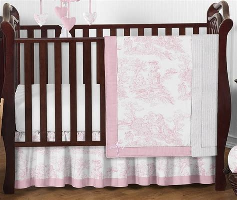 Pink And White French Toile Baby Bedding 4pc Crib Set Toile Crib Bedding Sets