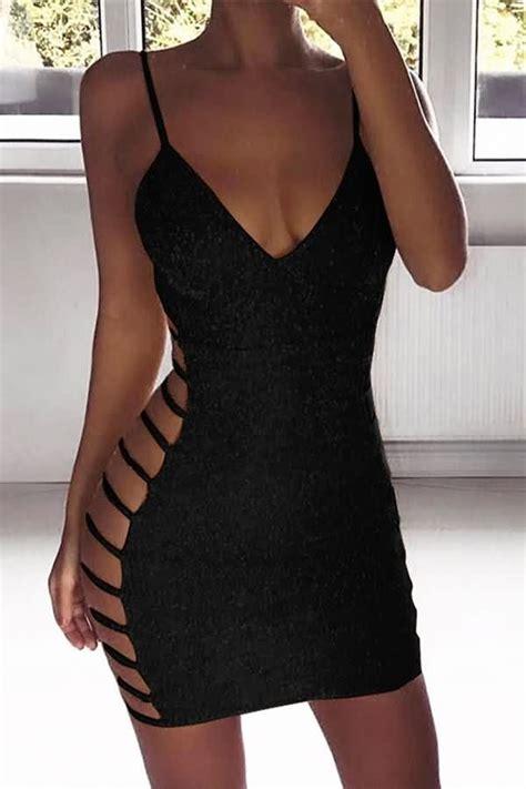 black glitter spaghetti straps cutout sexy bodycon dress
