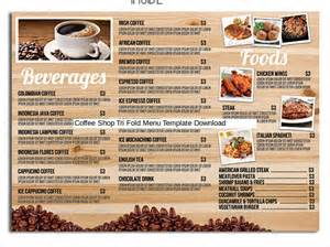 coffee price list template 13 tri fold menu templates free sle exle format