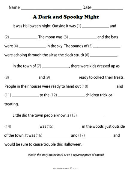 Have A Spooky Halloween Template Free And School Fill In The Blank Will Template