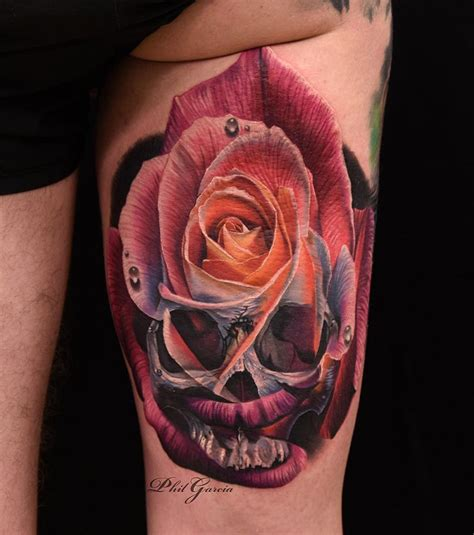 skeleton and rose tattoo skull merged together best ideas designs