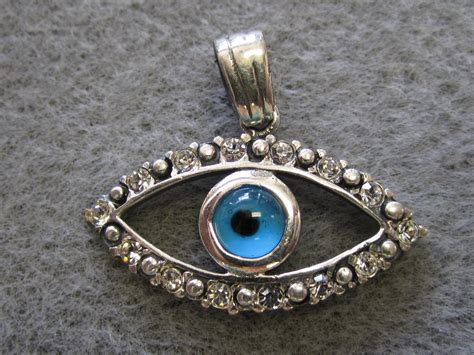 Silver Evil Eye 13 5mm Pendant sterling silver evil eye pendant with cz s