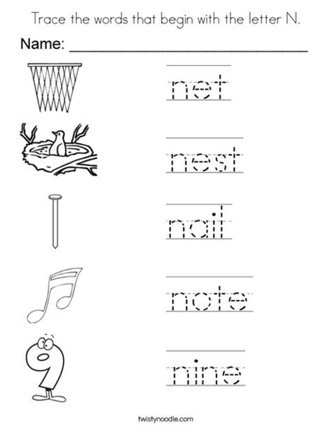 n words coloring page trace the words that begin with the letter n coloring page