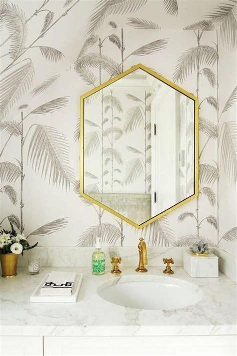 gray bathroom  gold hex mirror contemporary bathroom