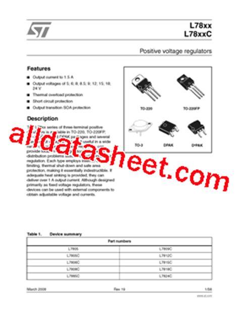 transistor l7805 l7805 datasheet pdf stmicroelectronics