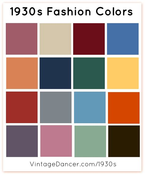 The Color Of Fashion 1930s fashion colors clothing fabric