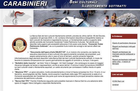www carabinieri it dati carabinieri dati dei beni culturali illecitamente