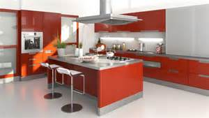 wonderful Large Kitchens Design Ideas #1: Stunning-large-red-modern-kitchen-with-large-island-and-white-floor-luxury-kitchen-designs-photo-gallery.jpg