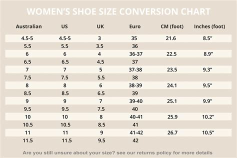 womens shoe size to shoes size chart returns policy ayucar