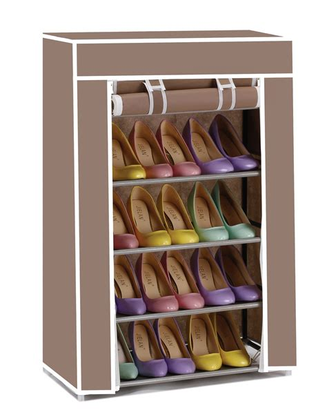 canvas shoe storage vinsani 5 tier canvas shoe rack standing storage organiser