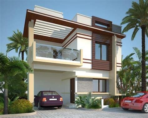 duplex house design plans elevation front flat roof modern home keralahousedesigns houses