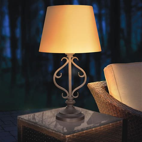 solar patio table lights the solar powered patio table l hammacher schlemmer