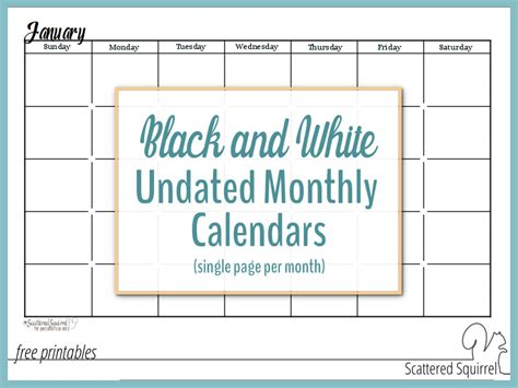 Undated Calendar Black And White Undated Monthly Calendars Are Great