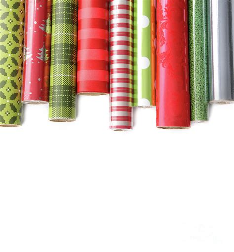 Wrapping Paper - rolls of colored wrapping paper on white3 photograph by