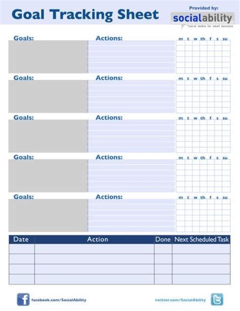 goal tracking template goal tracking sheet
