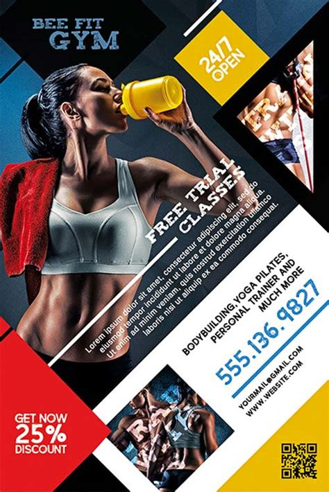 fitness gym free psd flyer template download for photoshop