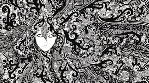 black and white zentangle wallpaper psychedelic full hd wallpaper and background image