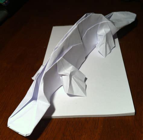 Origami Platypus - 299 platypus setting the crease