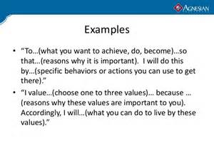values statement template personal mission statement