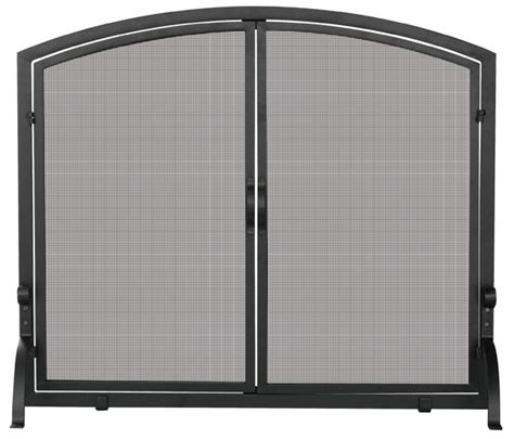 Uniflame Fireplace Screen With Doors by Uniflame Medium Single Panel Black Wrought Iron Fireplace Screen With Doors