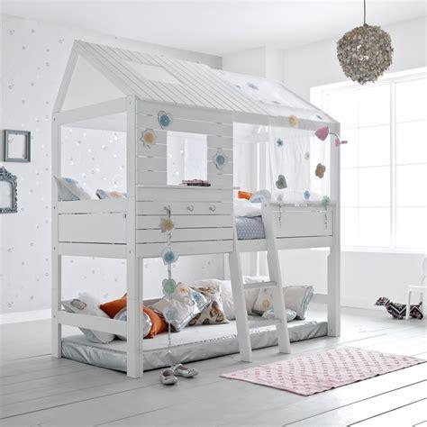 lit cabane haut fille 90x200 blanc emilie