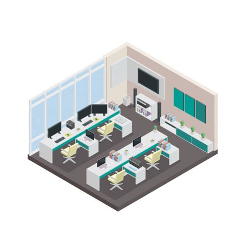 icon design office modern isometric 3d office interior design vector free