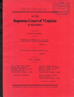 Court Records Virginia Virginia Supreme Court Records Volume 226 Virginia