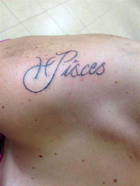 tattoo ideas pisces pisces symbol and term on shoulder ideas center