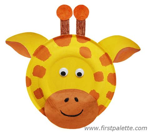 Giraffe Paper Plate Craft - paper plate animals craft crafts firstpalette